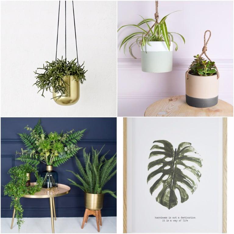 Ivoire Brass Plantholder - Mia Fleur - Hanging Ceramic Plant Pots - jd williams leave print