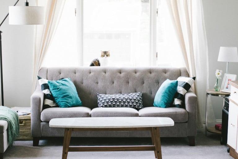 grey sofa modern living room