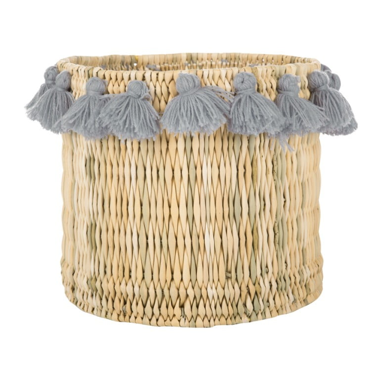 A by Amara - Fluorspar tall bucket with tassles - grey