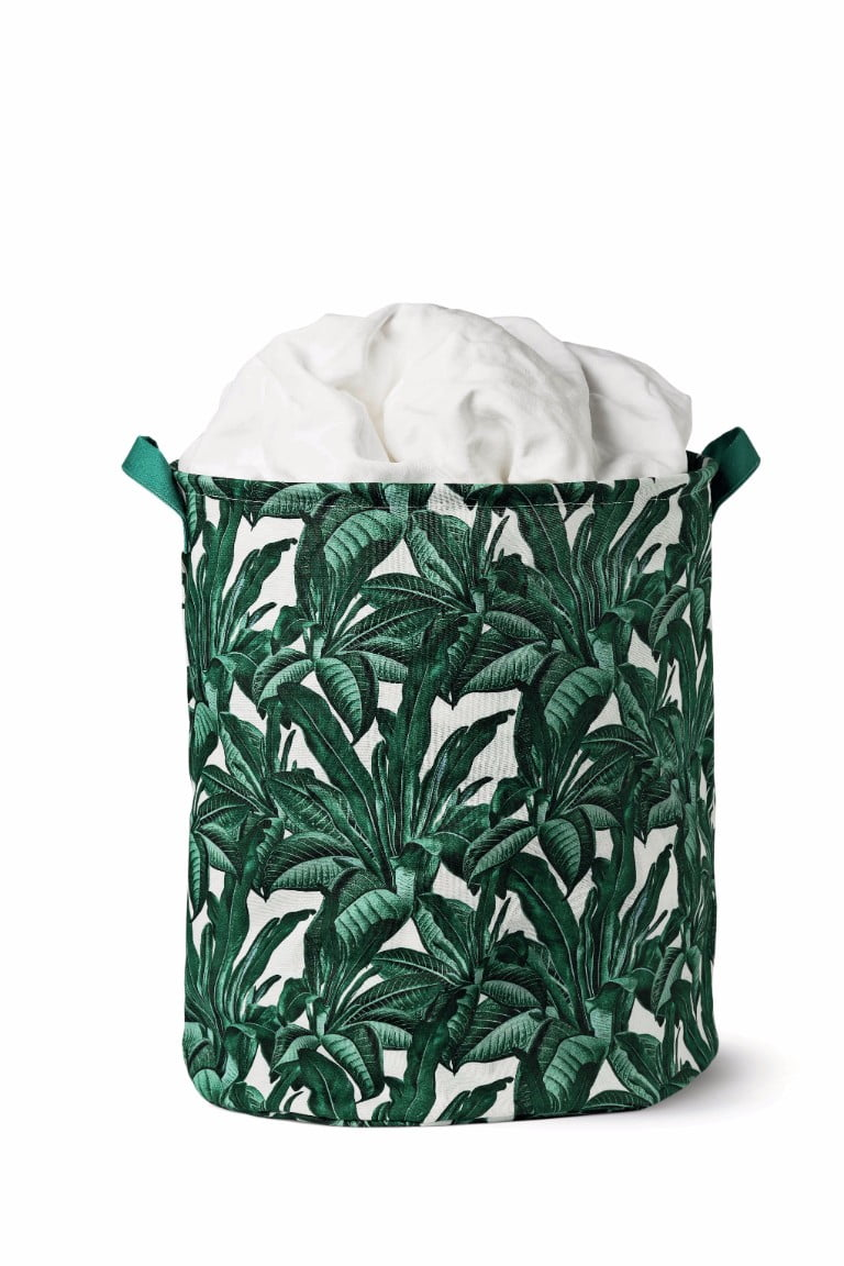 Flying Tiger Fold Laundry Basket Leaves Print