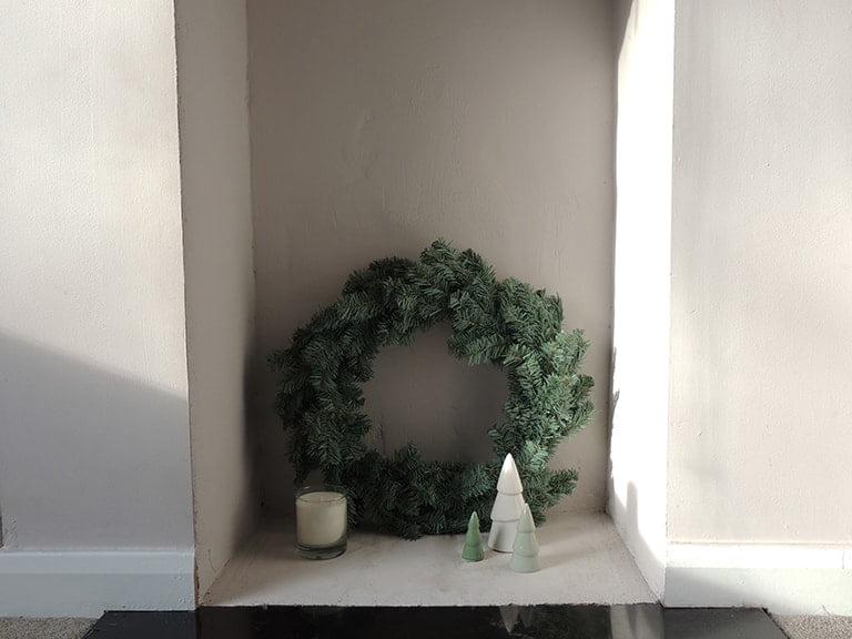 Modern minimalist winter fireplace