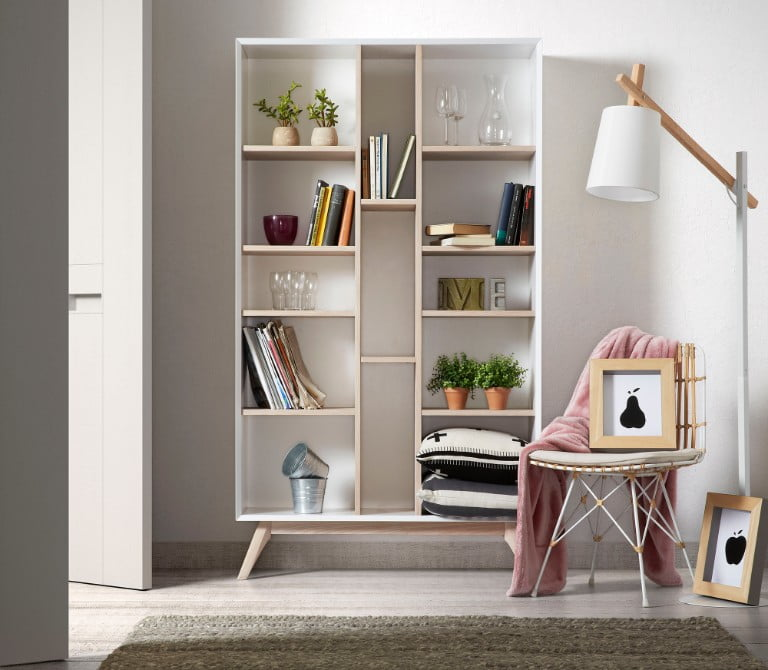 Quatre Wooden Bookcase in White & Ash