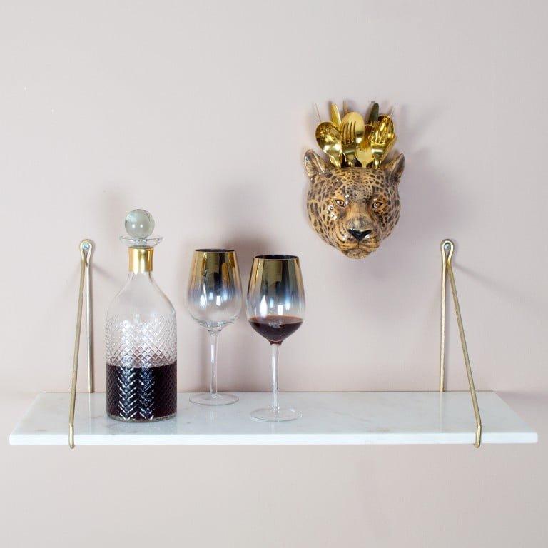AUDENZA White Marble Shelf with brackets