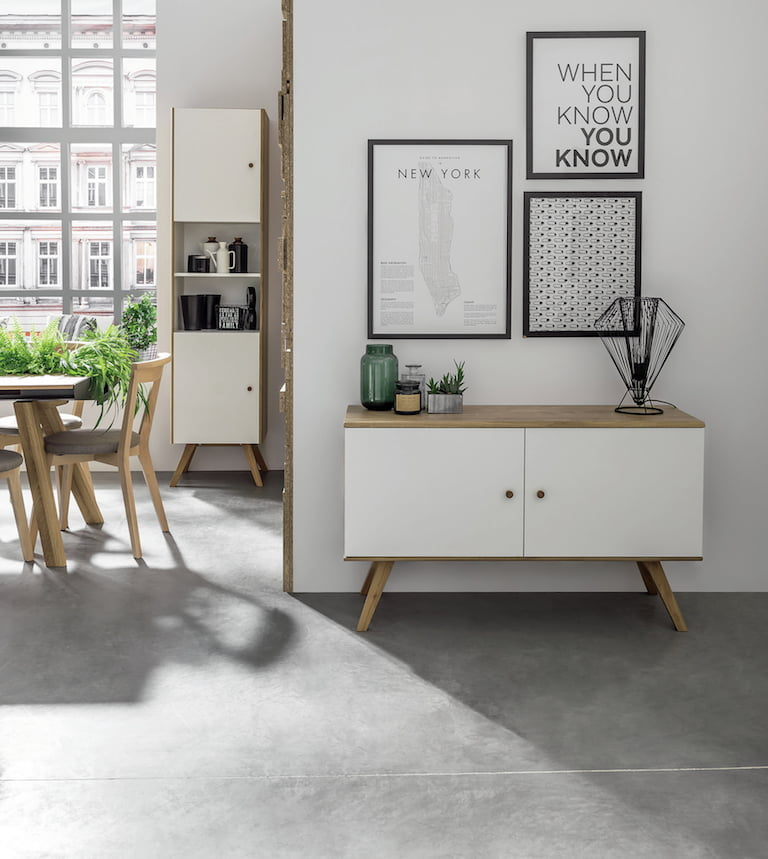 Cuckooland Nature Small Wooden Sideboard in White & Oak Effect