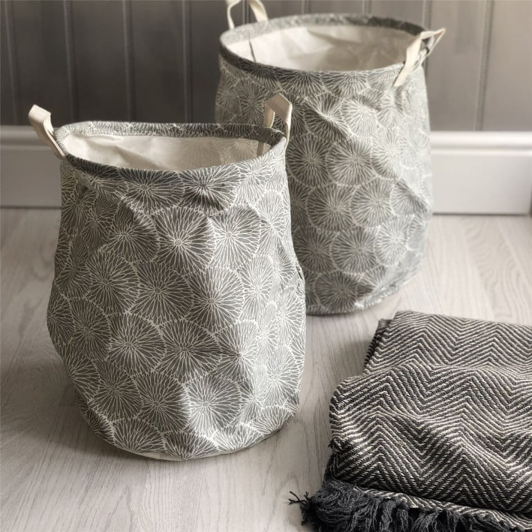 The Contemporary Home Set of Two Grey Flowers Round Storage