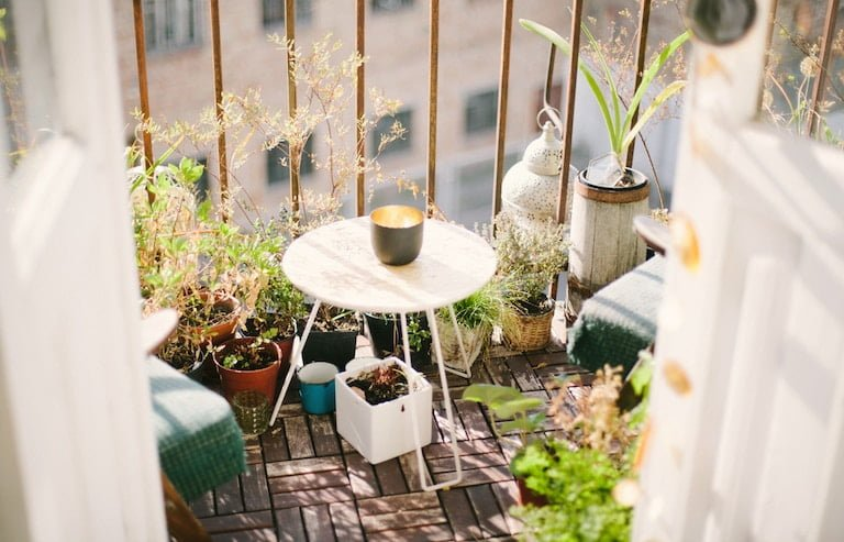Small Balcony with Plant Pots