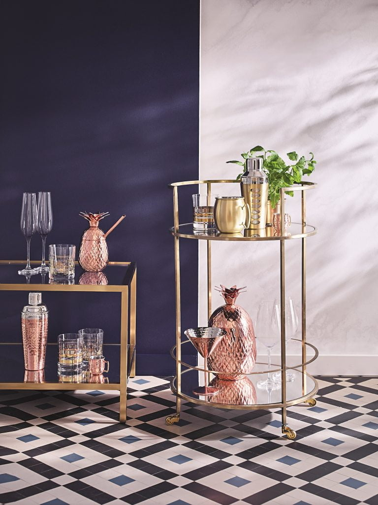 Fox & Ivy Gold Barcart Accessories | Tesco SS18