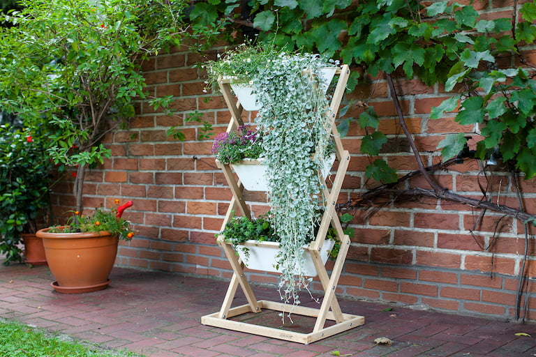 Wood and White Plastic Vertical Garden