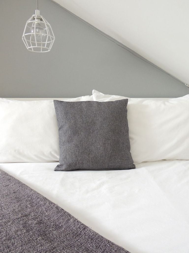 White Duvet Cover with Grey Blanket and Cushion