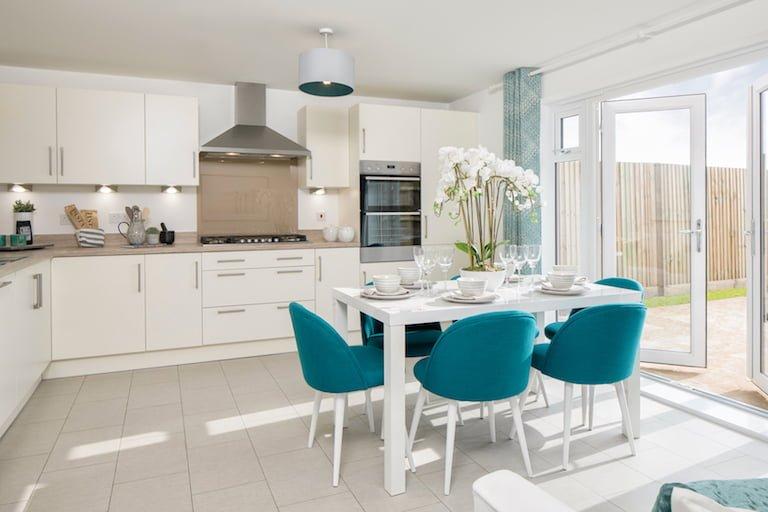 Modern white kitchen with blue accents - Newbury Racecourse, David Wilson Homes