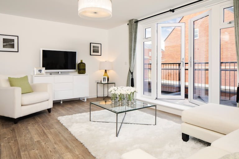 Luxury chic modern home with white and green accents - Newbury Racecourse, David Wilson Homes