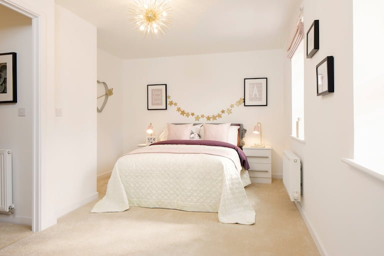 Minimal bedroom with subtle purple accents - Newbury Racecourse, David Wilson Homes