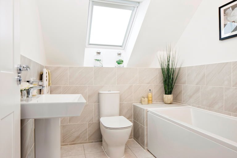 Modern white and natural colour bathroom - Newbury Racecourse, David Wilson Homes