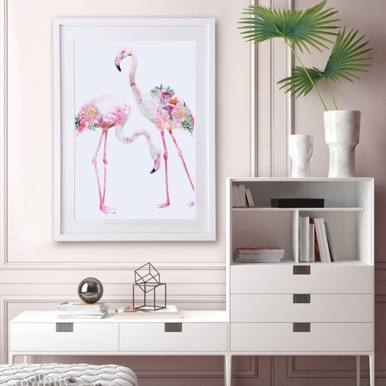 Wildlife Botanical Two Flamingos Art