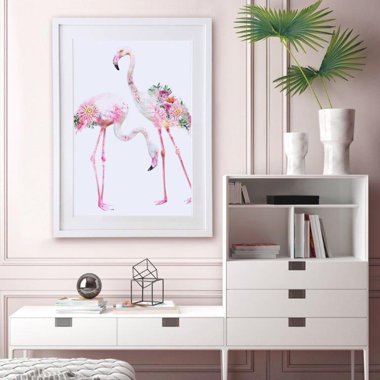 Wildlife Botanical Two Flamingos Art