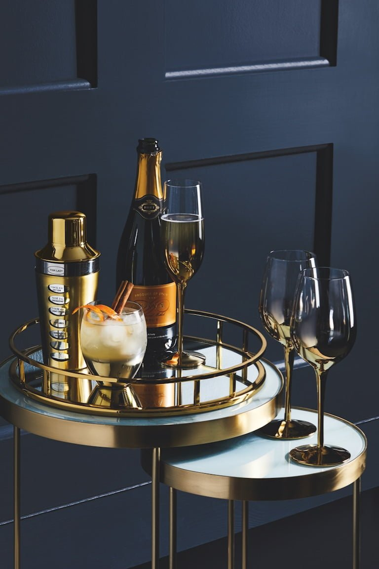 Gold Tray with Gold Bar Accessories Tesco AW18 Homeware