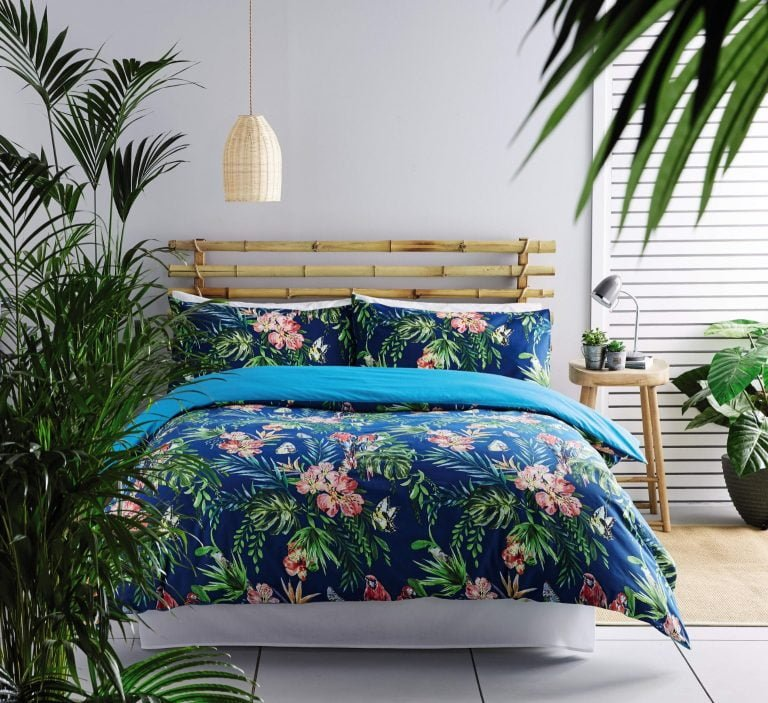 Aldi Summer Tropics Duvet Set King with Palm Leaves and Flowers on a blue background