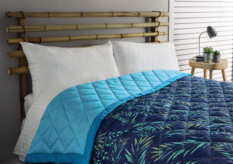 Aldi Summer tropics bed spread blue palm leaves