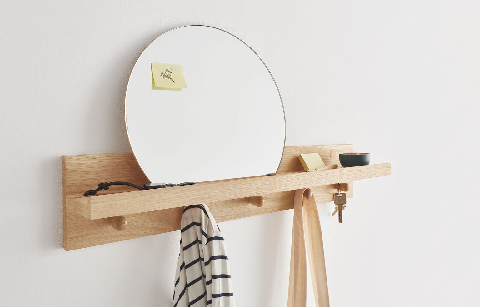 Made.com oak wall shelf with circle oak mirror