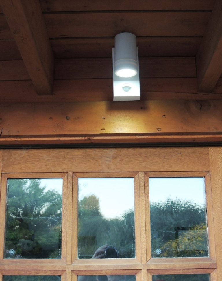 White LED PIR Spotlight Above Door