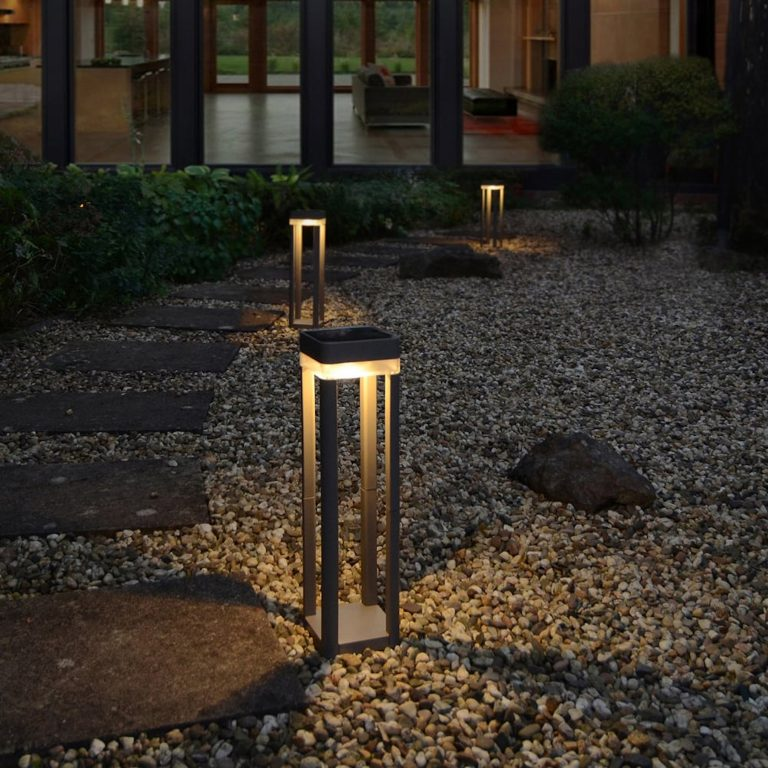 lutec table cube portable solar powered led bollard light in graphite with touch dimmer