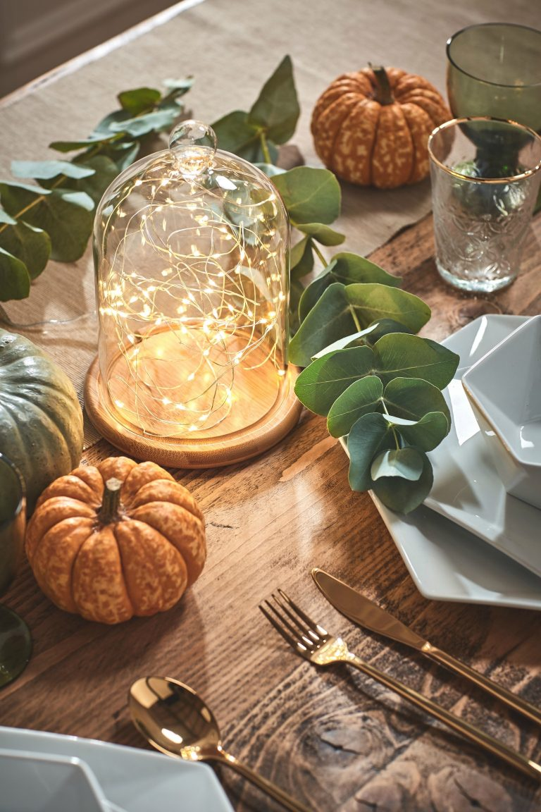 Autumn Table Setting with warm lights
