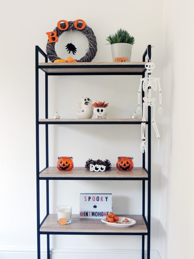 Halloween Decorations on Shelf