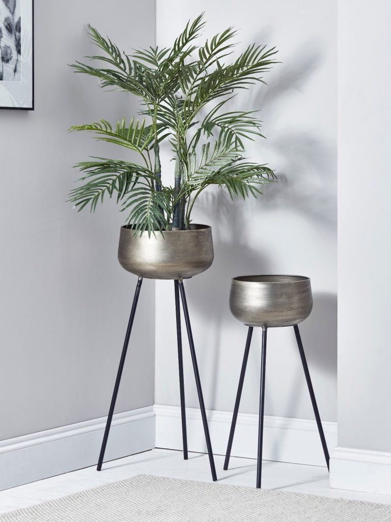 Cox and Cox Two Brushed Gold Standing Planters