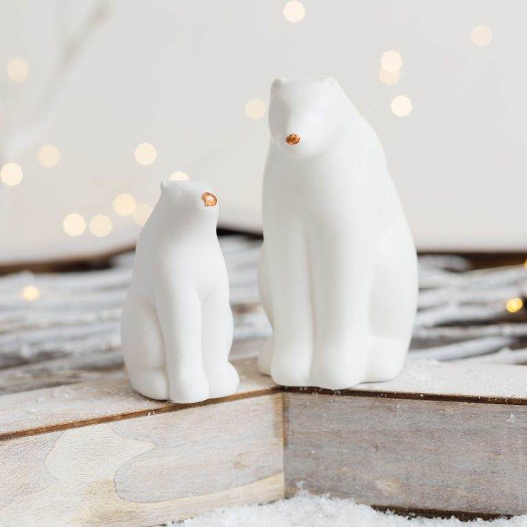 Love Unique White & Copper Polar Bears