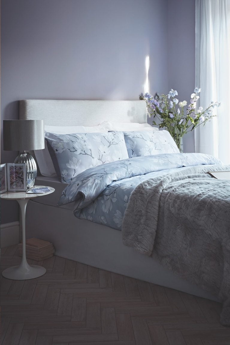 Tesco Fox & Ivy SS19 Magnolia Bloom Duvet Set and Carved Faux Fur Throw