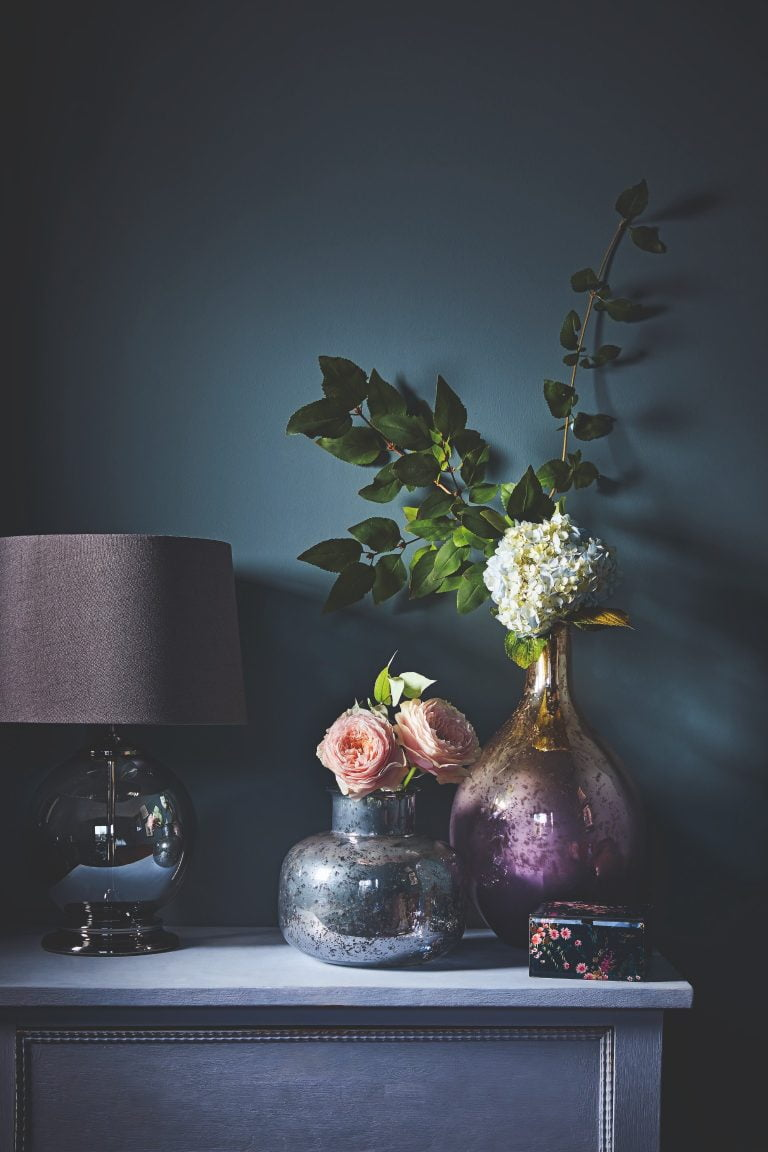 Tesco Fox & Ivy SS19 Smoke Glass Table Lamp with Pearlescent Vase