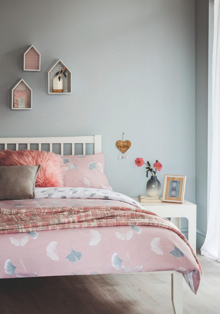 Tesco Home SS19 Pink Ginkgo Leaf Duvet with Wall Accessories