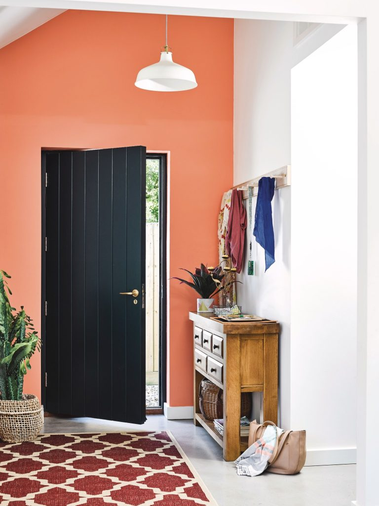 Bright Orange Wall, Oak Furniture Land