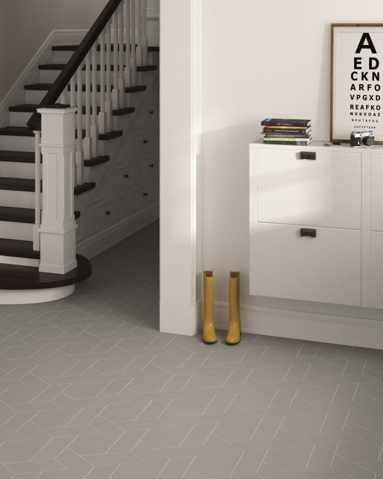 Chevron Floor Tiles in Grey, The Baked Tile Company
